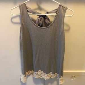 Grey tank top with lace detail